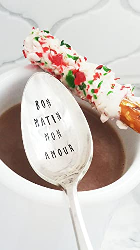 Amazoncom Bon Matin Mon Amour Hand Stamped Spoon Good Morning My