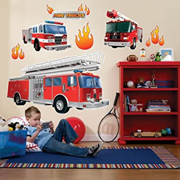 Amazon.com: Fire Truck Firefighter Room Decor - Giant Wall Decals ...