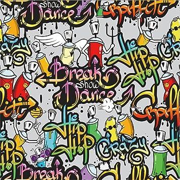 Amazoncom Leowefowa 5x5ft Grunge Graffiti Backdrop Crazy Hip Hop