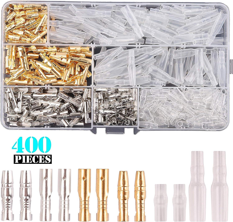 Kinstecks 200PCS Kit de Conectores de Bala de 3.5 mm Conector de terminales de Cable Macho y Hembra de Bala de lat/ón con Cubierta de Aislamiento