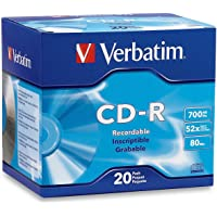Verbatim CD-R 700MB 80 Minute 52x Recordable Disc - 20 Pack Slim Case - 94936, Silver