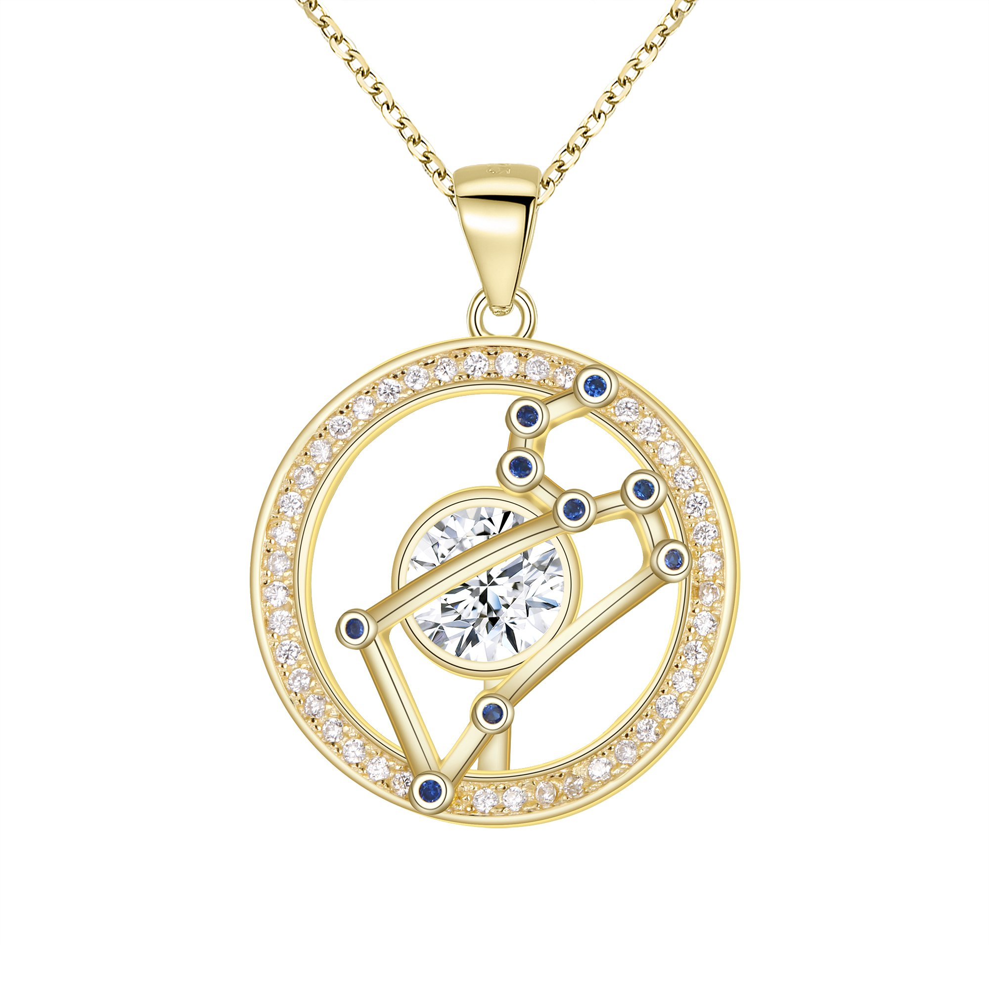 FANZE Leo-925 sterling silver Horoscope Zodiac 12 Constellation CZ Pendant Necklace Golden Birthday Gift GoldPlated 18''+ 1.7''