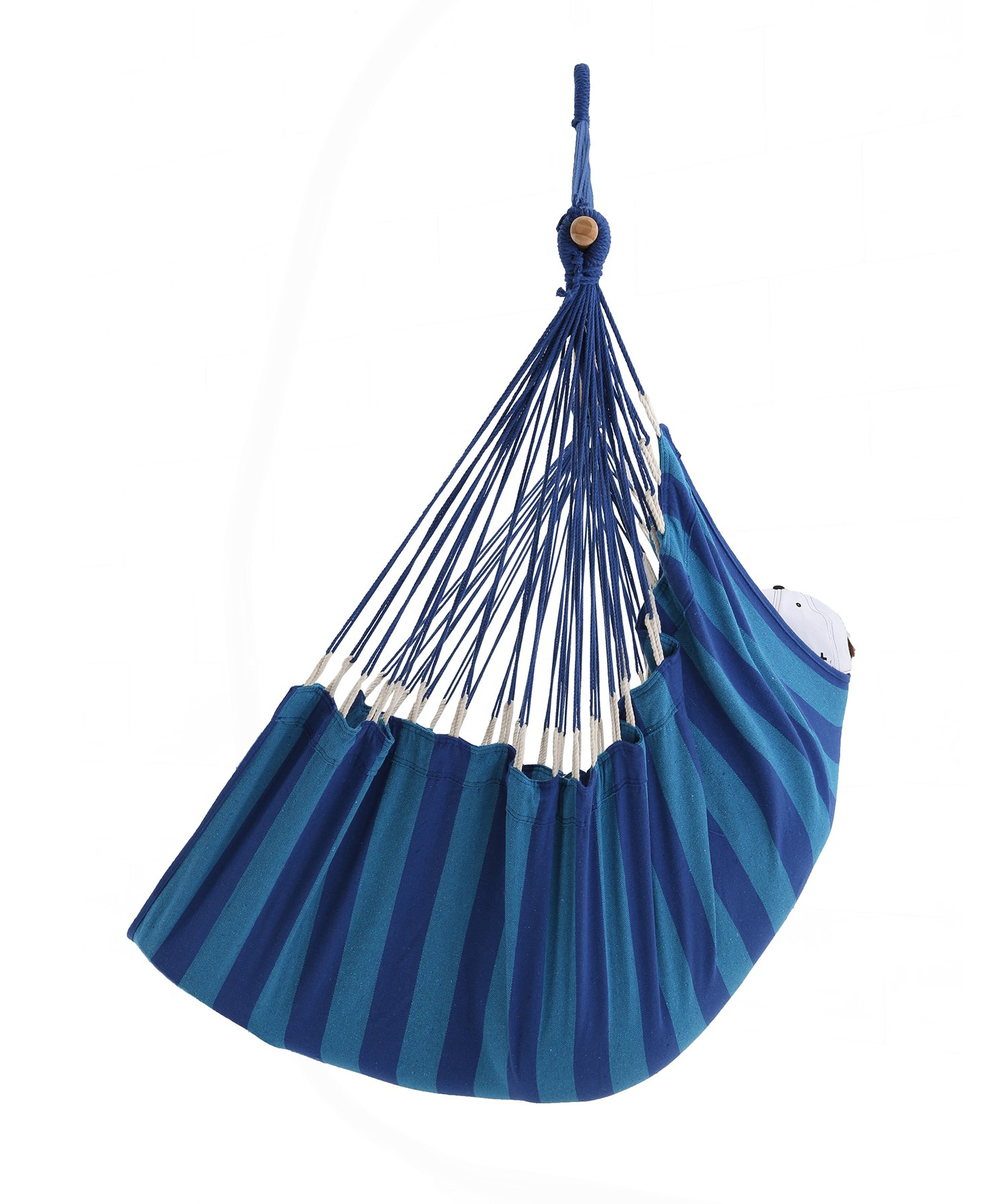 ELC HAMMOCK Large Hanging Rope Hammock Chair Porch Swing Seat for Patio, Yard, Bedroom, Porch, Indoor or Outdoor - Max. 330 Lbs, Blue Stripes