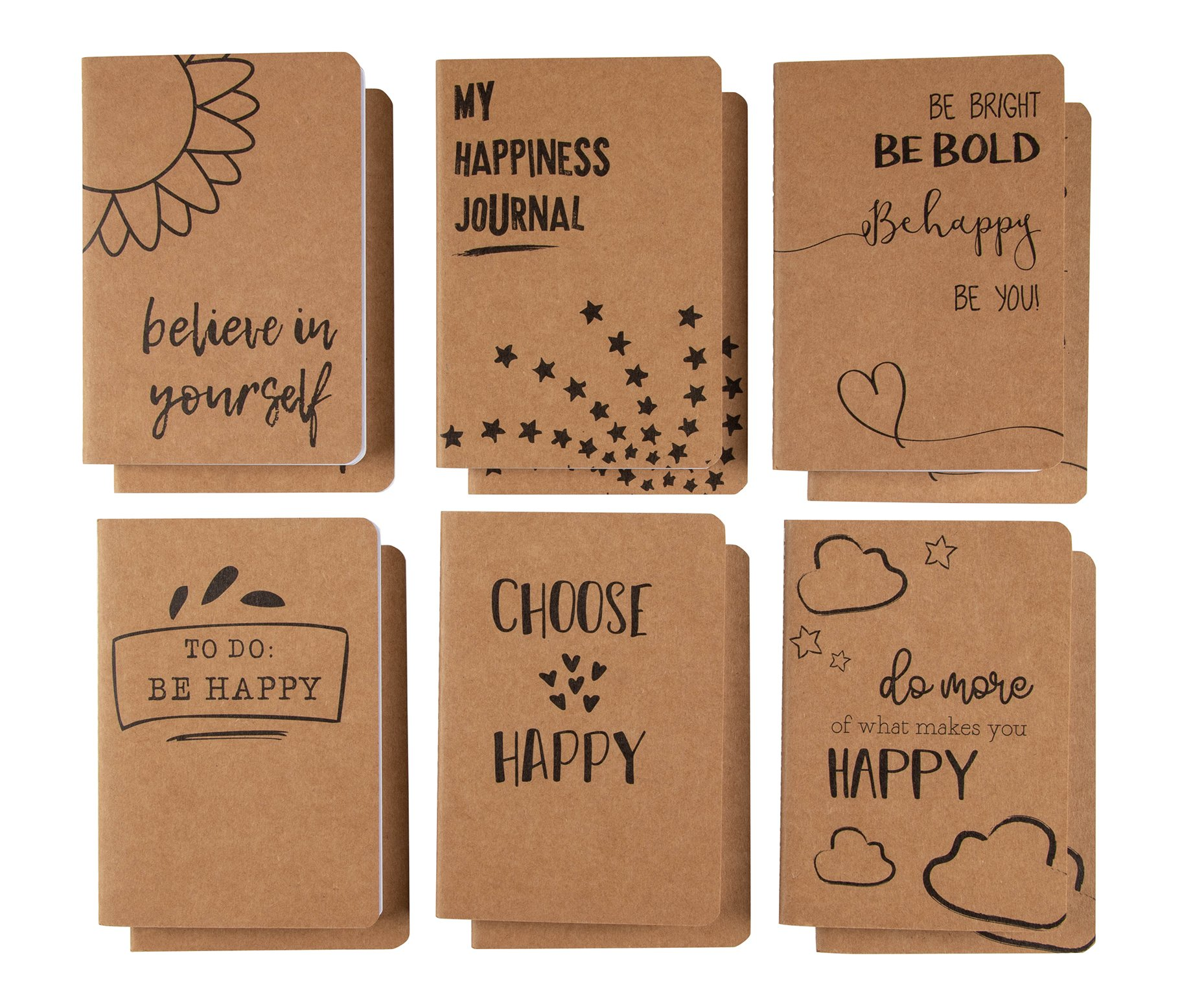 Kraft Notebook Bulk - 12-Pack Lined Pocket Notebook, Travel Journal Set for Diary, and Notes, 6 Different Happiness Designs, Soft Cover, 80 Pages, Brown, A6, 4.1 x 5.8 Inches by Paper Junkie