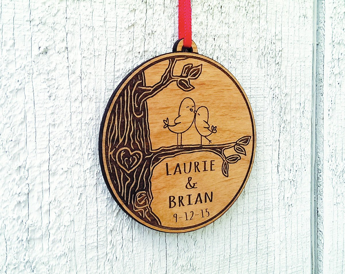 Newlywed ornament - Amazon Com Newlywed Christmas Ornament Lovebirds Personalized Heart Tree Trunk Design Mr Mrs Wedding Date Name Engraved Couples Our First Christmas Gift