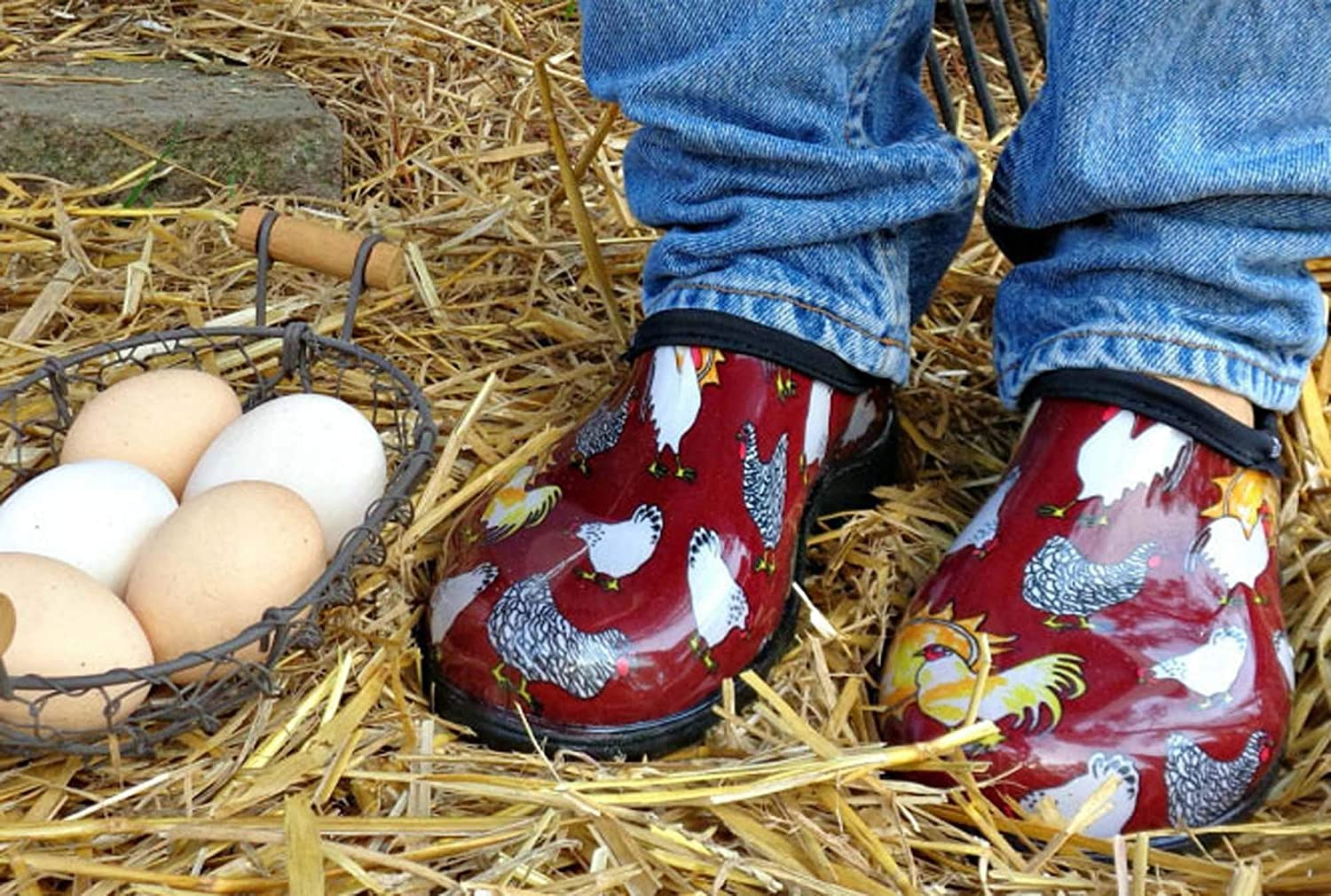 Size 8 Sloggers Womens Waterproof  Rain and Garden Shoe with Comfort Insole Chickens Barn Red Style 5116CBR08 Renewed