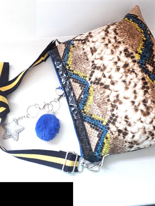 af79c5ad95 Sac bandoulière réglable simili cuir imitation serpent, sac besace taupe  bleu jaune, sac à main tendance, sac féminin moderne simili cuir et coton:  ...