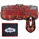 Gaming Keyboard and Mouse Set, MFTEK USB Wired LED 3 Color Backlit Luminous Illuminated and 3 Level Brightness Adjustable Gaming Keyboard and Mouse Combo for Laptop Desktop Gamers Office Work
