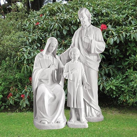 Estatuas de jardín de mármol - religioso 185 cm Escultura Sagrada Familia: Amazon.es: Jardín