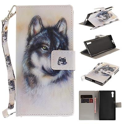 Para Sony Xperia XZ funda, (lobo) caja del teléfono de la PU patrón en pintado ,Función de Soporte Billetera con Tapa para Tarjetas correa de mano soporte para teléfono