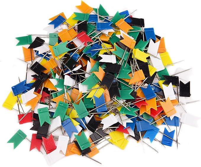 7/colori assortiti Sunmns 300/pezzi bandiera mappa puntine Tacks
