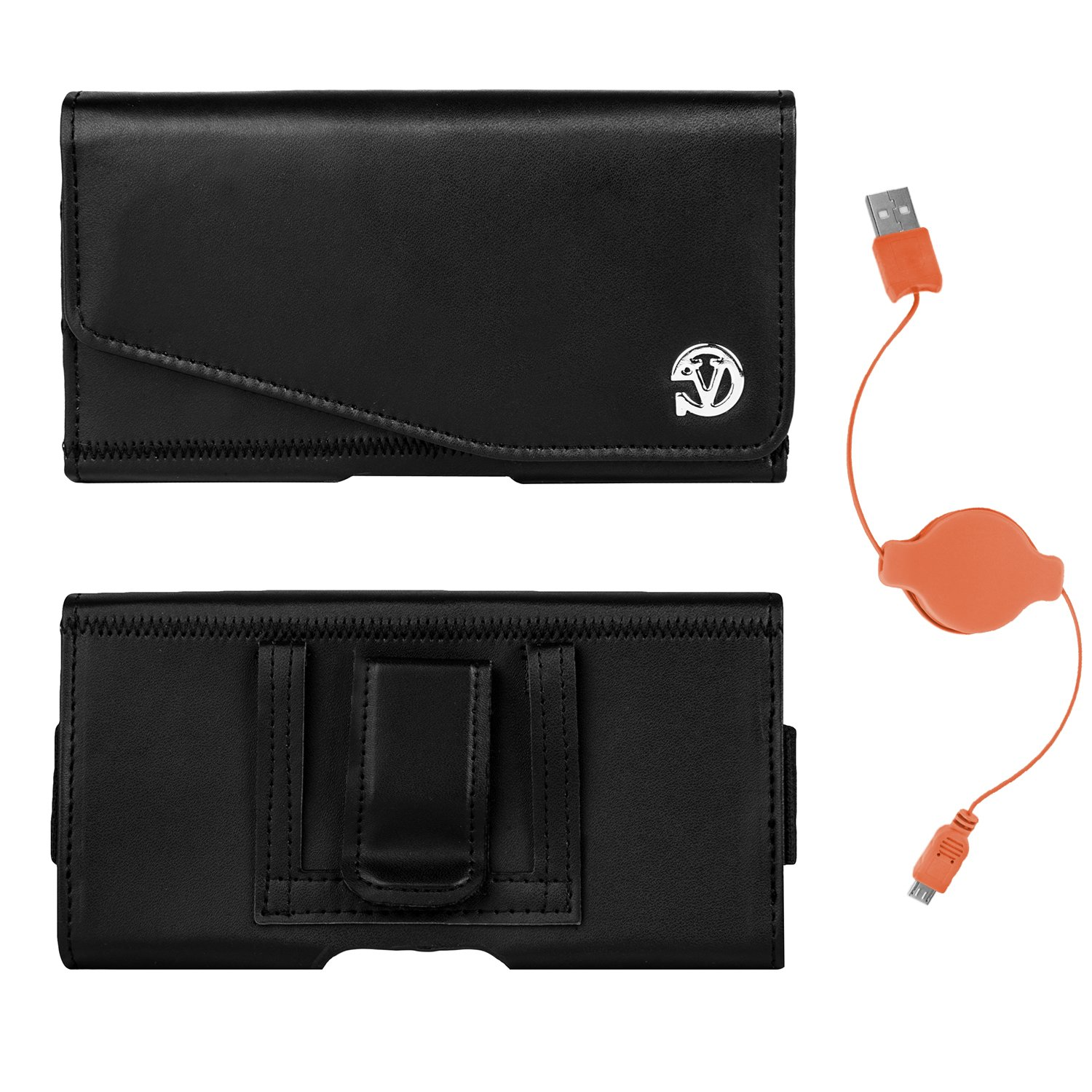 Noble PU Leather Belt Hip Holster Case for HTC Desire 520/526/530/626/630/825/510/516/610/626s/816/Eye + USB Cable (Orange)