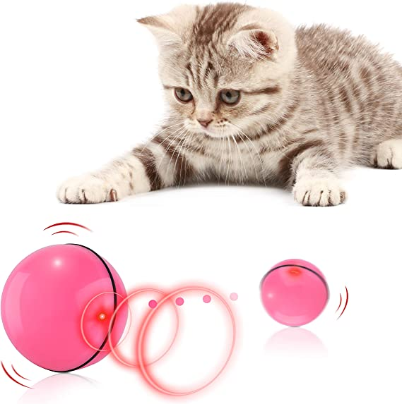 LUCHENG Interactive Red Toy for Cats//Dogs,USB Rechargeable Kintten Trainning Exercise Tool for Indoor and Outdoor