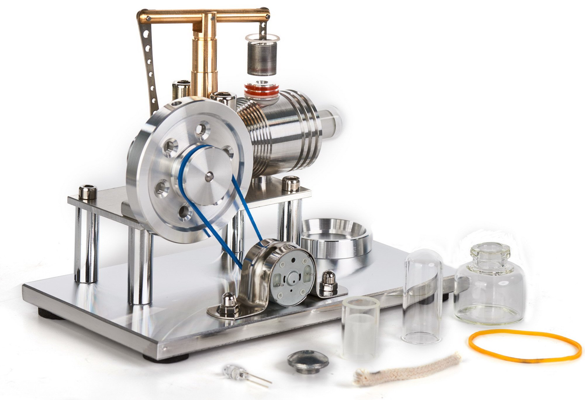 Sunnytech Hot Air Stirling Engine Motor Model Educational Toy Electricity Generator Colorful LED SC (SC02M)