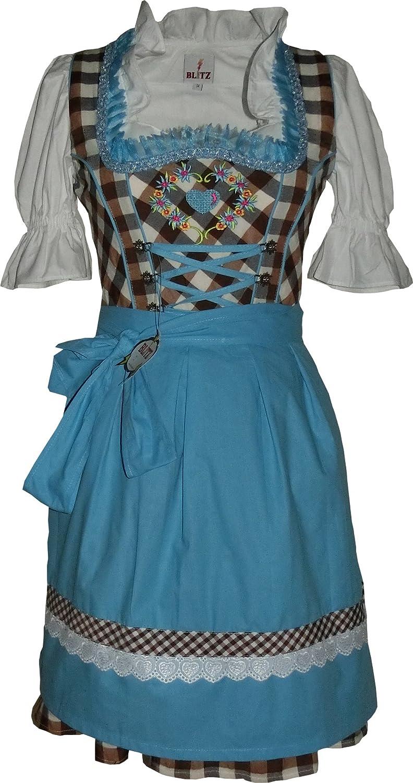 Blitz BT22 Dirndl 3 tlg. Trachtenkleid Kleid, Bluse, Schürze, ca. 90cm Größe: 34 bis 42 , Braun&Weiß&Türkis
