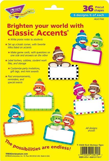 36 ct Sock Monkeys Signs Classic Accents Trend Enterprises Inc
