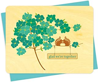 product image for Blue Flower Squirrels Wood Love Card by Night Owl Paper Goods