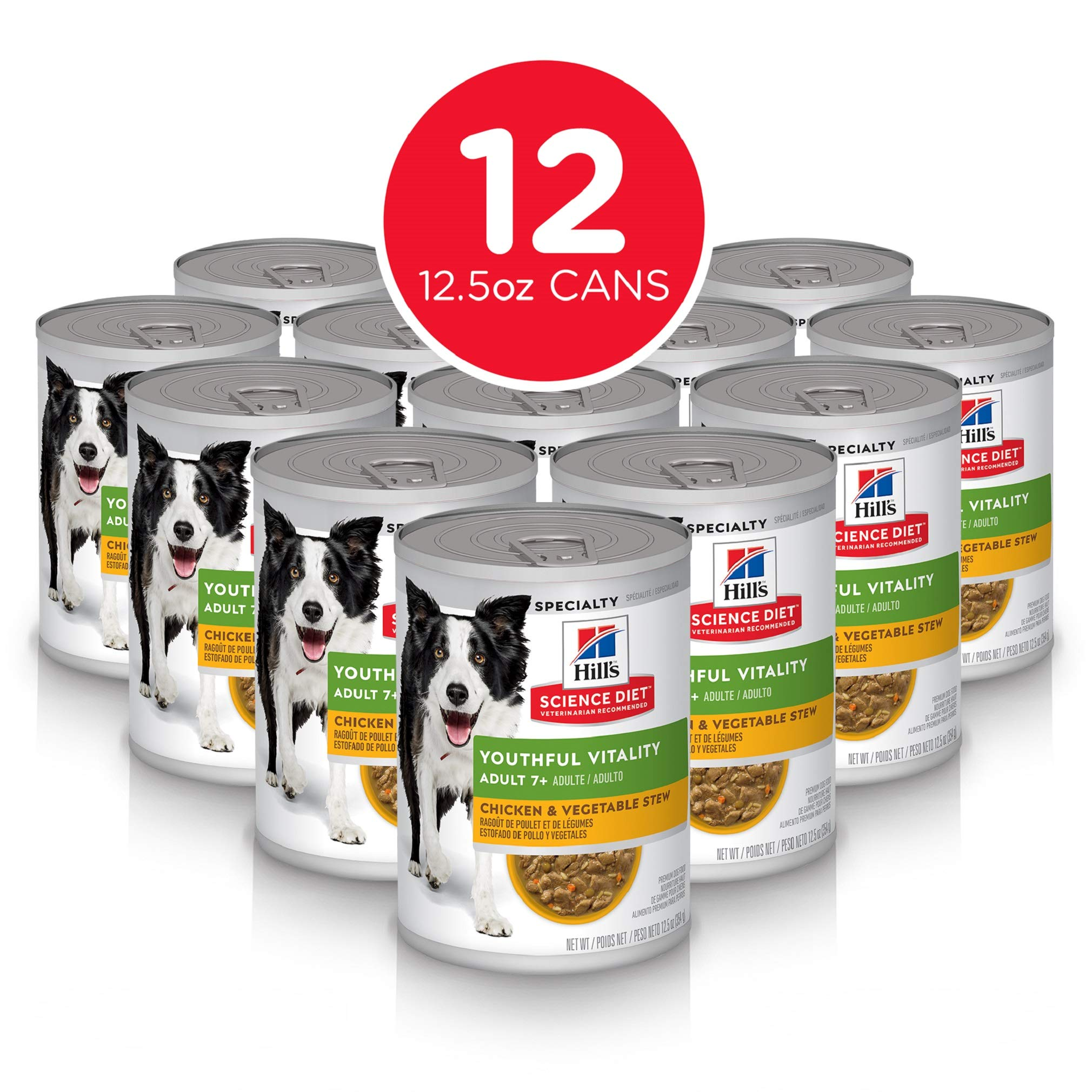 Hill's Science Diet Dog Wet Food, Adult 7+ for Senior Dogs, Youthful Vitality by Hill's Science Diet