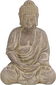 Deco 79 Fiber Clay Buddha, Sitting Pose, Antiqued Yellow Finish