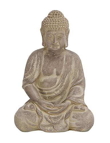 Deco 79 Fiber Clay Buddha, Sitting Pose, Antiqued Yellow Finish