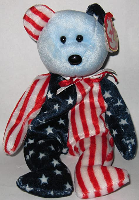 TY Beanie Babies Special Edition Spangle Blue Face the Bear Plush Toy  Stuffed Animal patriotic 4oth a2d481bfdc