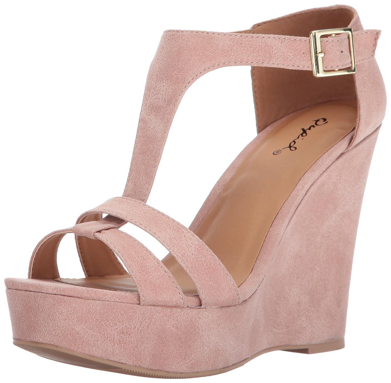 Qupid Women's Kelsey-52 Wedge Sandal B06Y5ZCH7X 8.5 B(M) US Blush Distress Polyurethane
