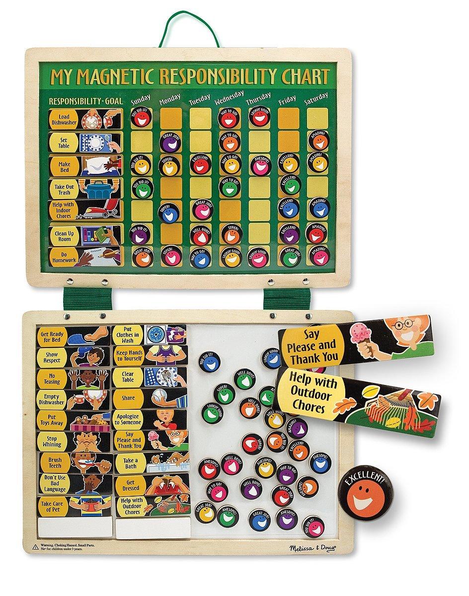 com melissa doug deluxe wooden magnetic responsibility com melissa doug deluxe wooden magnetic responsibility chart 90 magnets melissa doug toys games