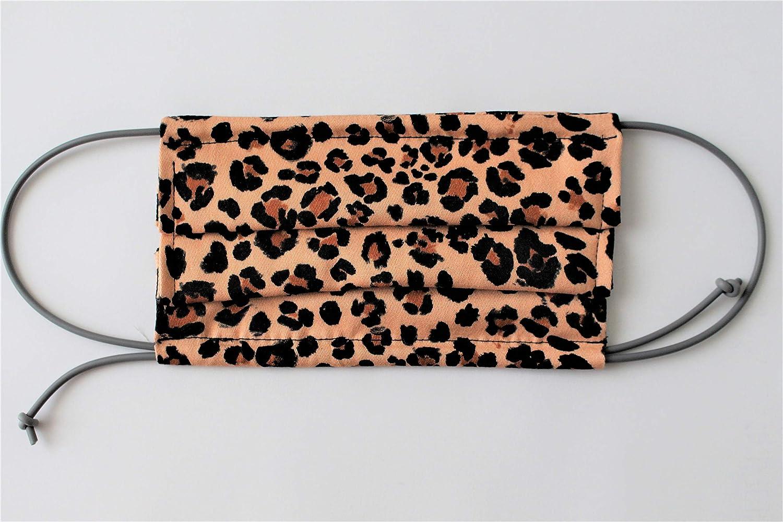 Mascherina in cotone fantasia leopardata lavabile e riutilizzabile doppio strato di cotone