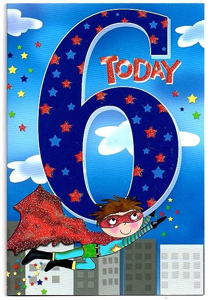 Tarjeta de cumpleaños para seis (6) años niño viejo - libre ...