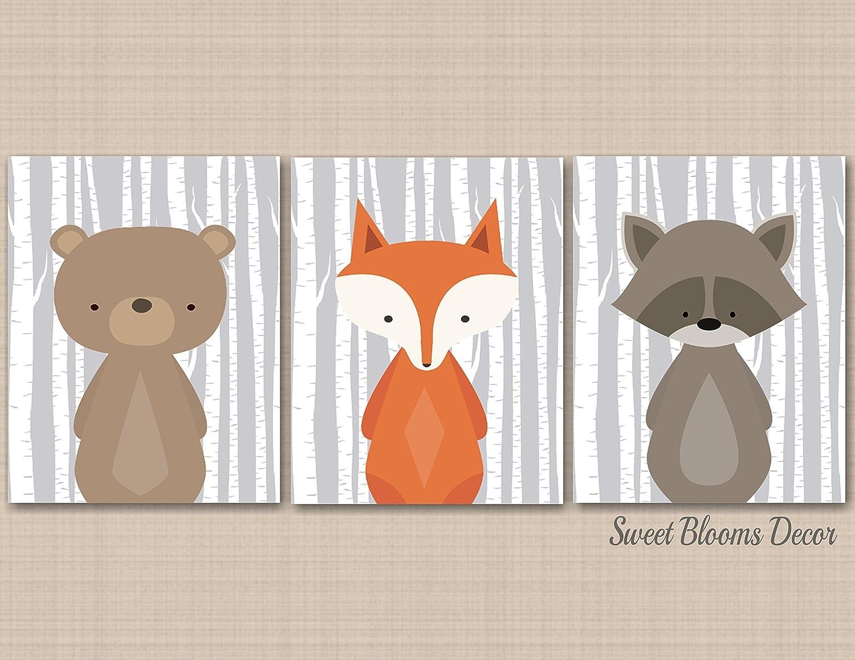 NOT CANVAS Woodland Nursery Wall Art Forest Animals D/écor Bear Fox Raccoon Baby Room Birch Gray Shower Gift Modern Nursery D/écor Baby Boy Nursery Animals Childrens Art UNFRAMED 3 PRINTS C582