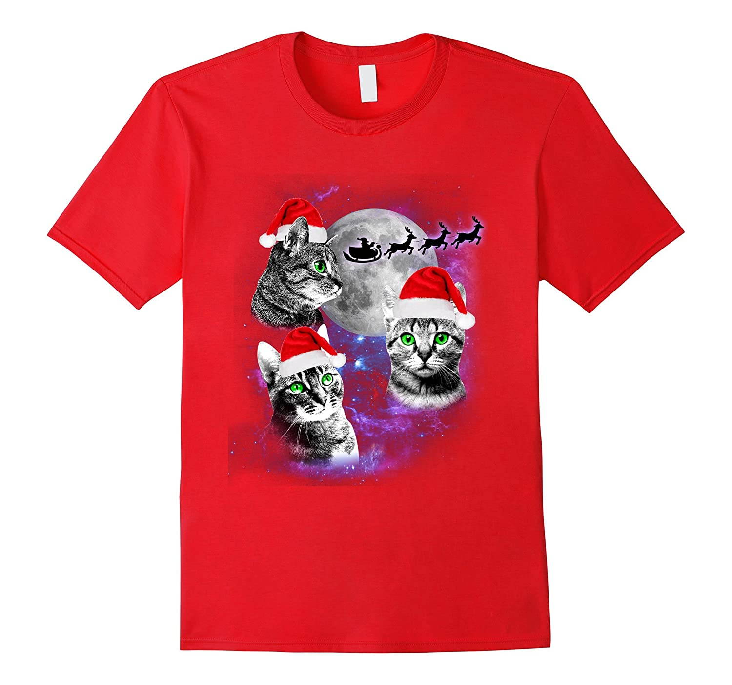 Three Cats Moon T-shirt Funny Christmas Santa Three Kitten-ANZ