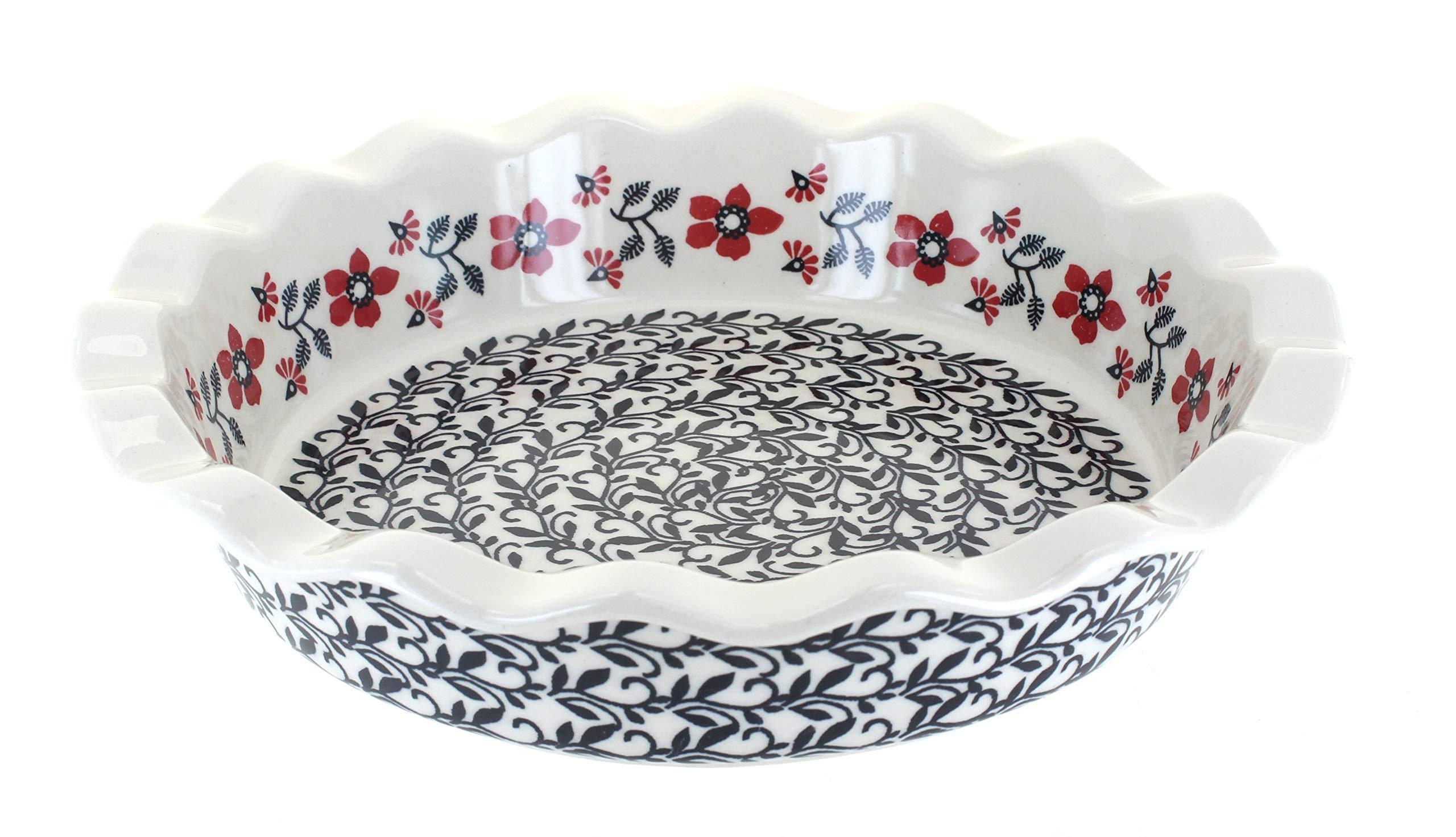 Blue Rose Polish Pottery Scarlett Ivy Pie Plate