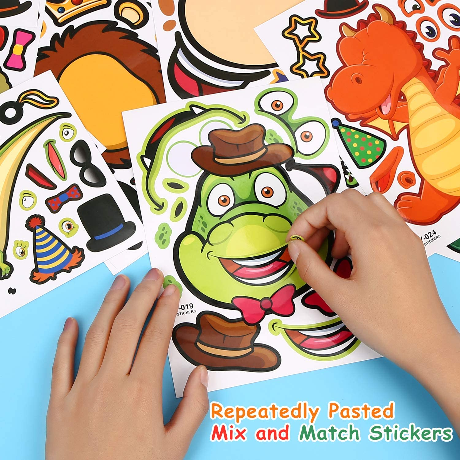 SCIONE Kids Stickers 48 Pack,Animal Make-a-face Sheets,Dinosaur Birthday Party Favors for Kids,Mix and Match Stickers Variety Pack with Safaris and Fantasy,Zoo Kids Party Supplies Goody Bags Fillers