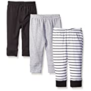 Luvable Friends Unisex 3 Pack Tapered Ankle Pants, Black Stripe, 3-6 Months
