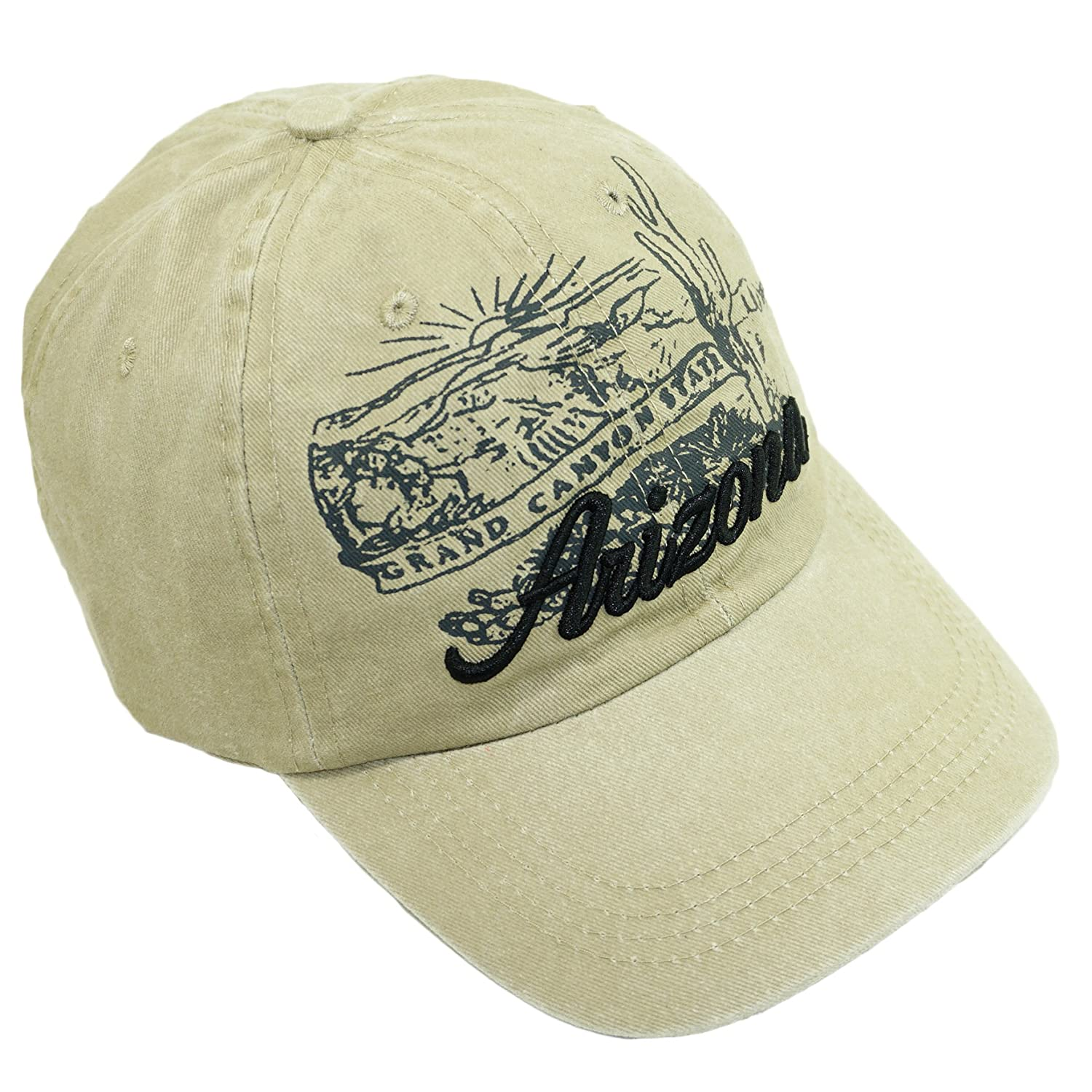 99f02559b2d Bingoo USA City Embroidered Hat Adjustable Landscape Cotton Baseball Cap  (Arizona-Beige) at Amazon Men s Clothing store