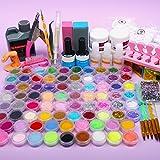 Acrylic Powder Nail kit with 78 Color Acrylic Nail Glitter Powder Mini-ball Velvet Stripeand and Acrylic Liquid Acrylic…