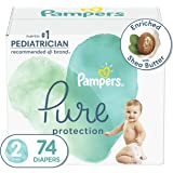 Diapers Size 2, 74 Count - Pampers Pure Protection Disposable Baby Diapers, Hypoallergenic and Unscented Protection, Super Pa