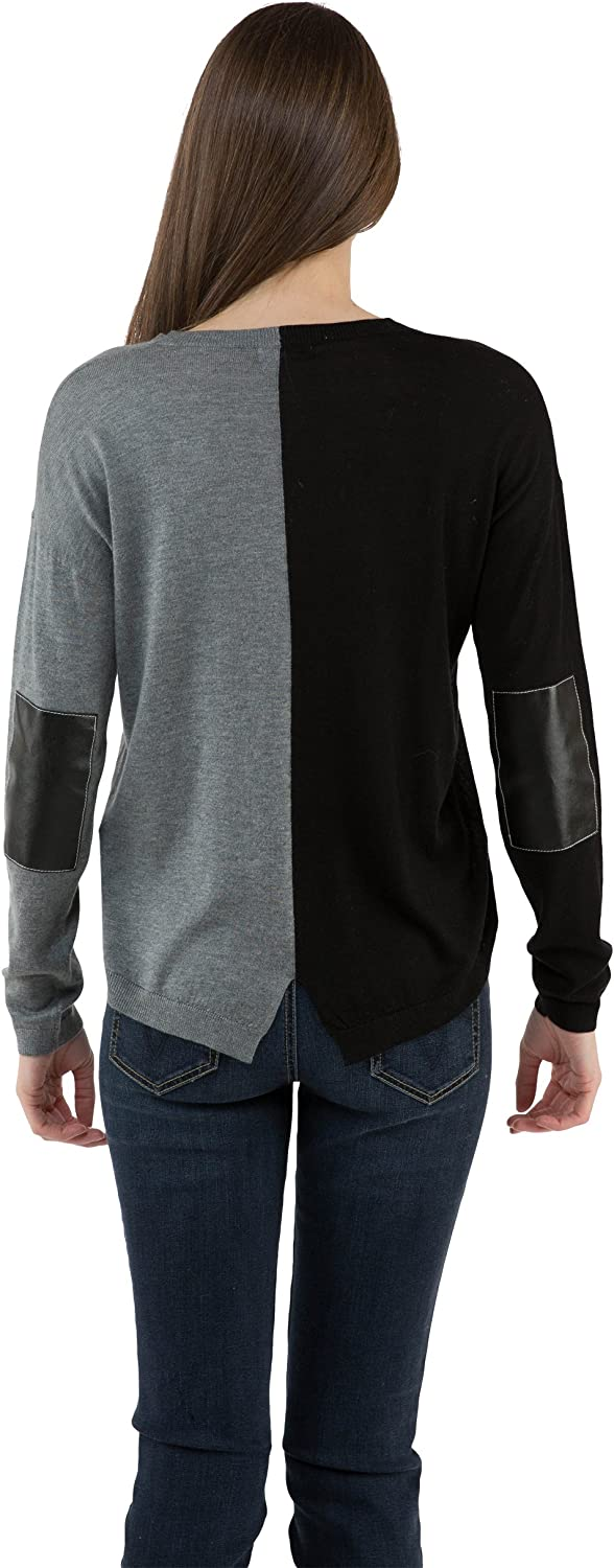 Sogi Colorblock with Faux Leather Sweater