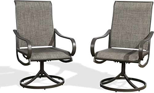 Ulax Furniture Outdoor Patio 2 Pieces Swivel Chairs Bistro Dining Rocker Chairs for Backyard, Deck