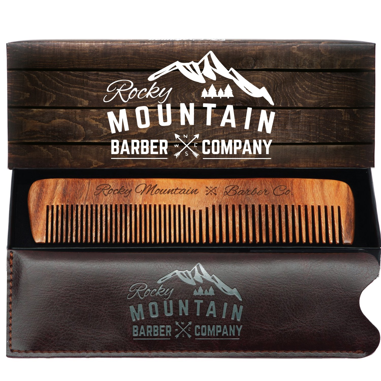 Hair Comb - Wood with Anti-Static & No Snag with Fine and Medium Tooth for Head Hair, Beard, Mustache with Premium Carrying Pouch in Design in Gift Box by Rocky Mountain Rocky Mountain Barber Company HC-30