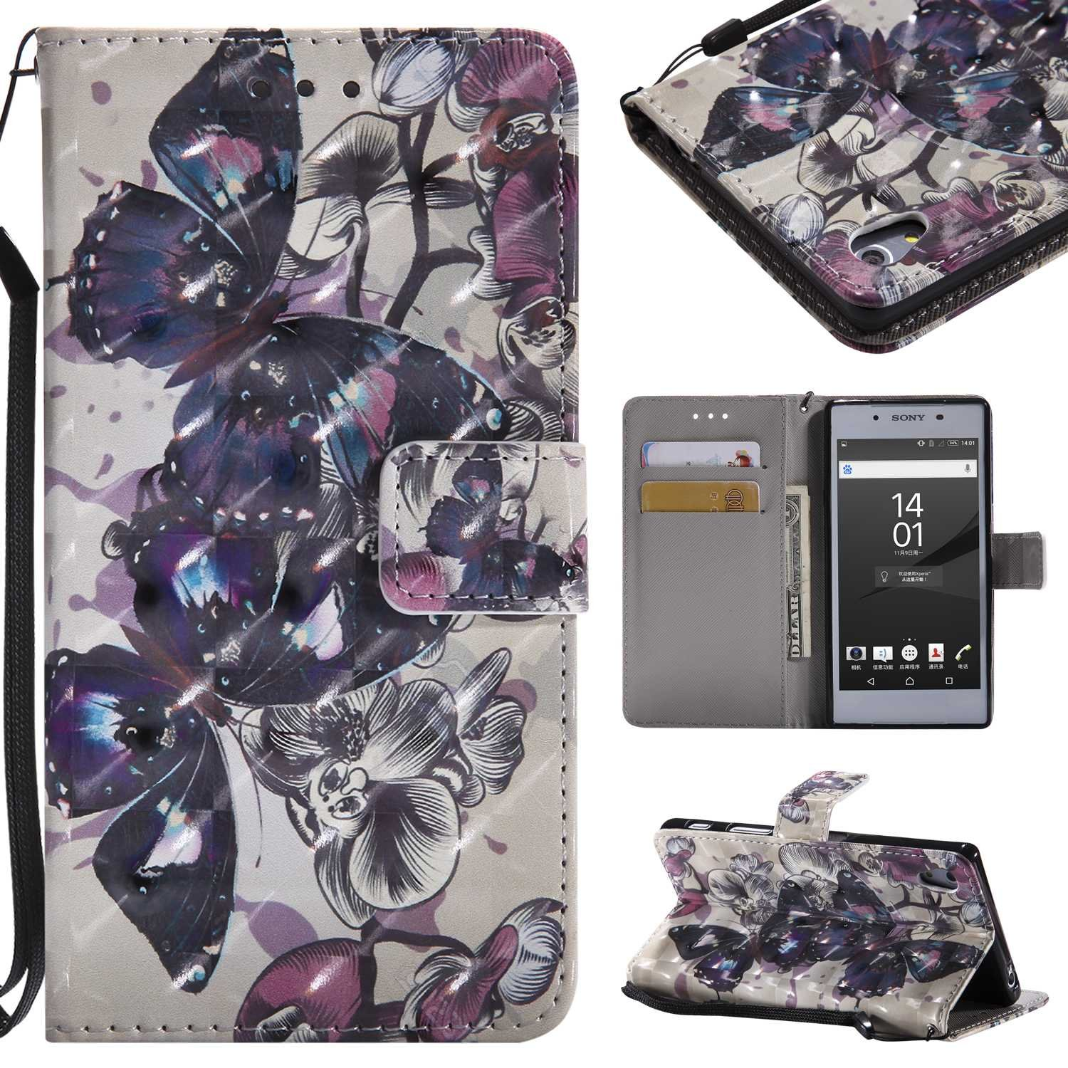 Sony Xperia Z5 Case, Conber Diamond Leather Case with [free Tempered Glass Screen Protector][Card Holder][Hand Strap], Sony Xperia Z5 Premium Leather Wallet Flip Case with Stand Cover, Colorful Painting Pattern Design Protective Shell Case Cover for Sony X