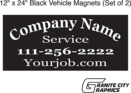 Your Text Here Custom Black Car Door Magnets Magnetic Signs-Qty 2