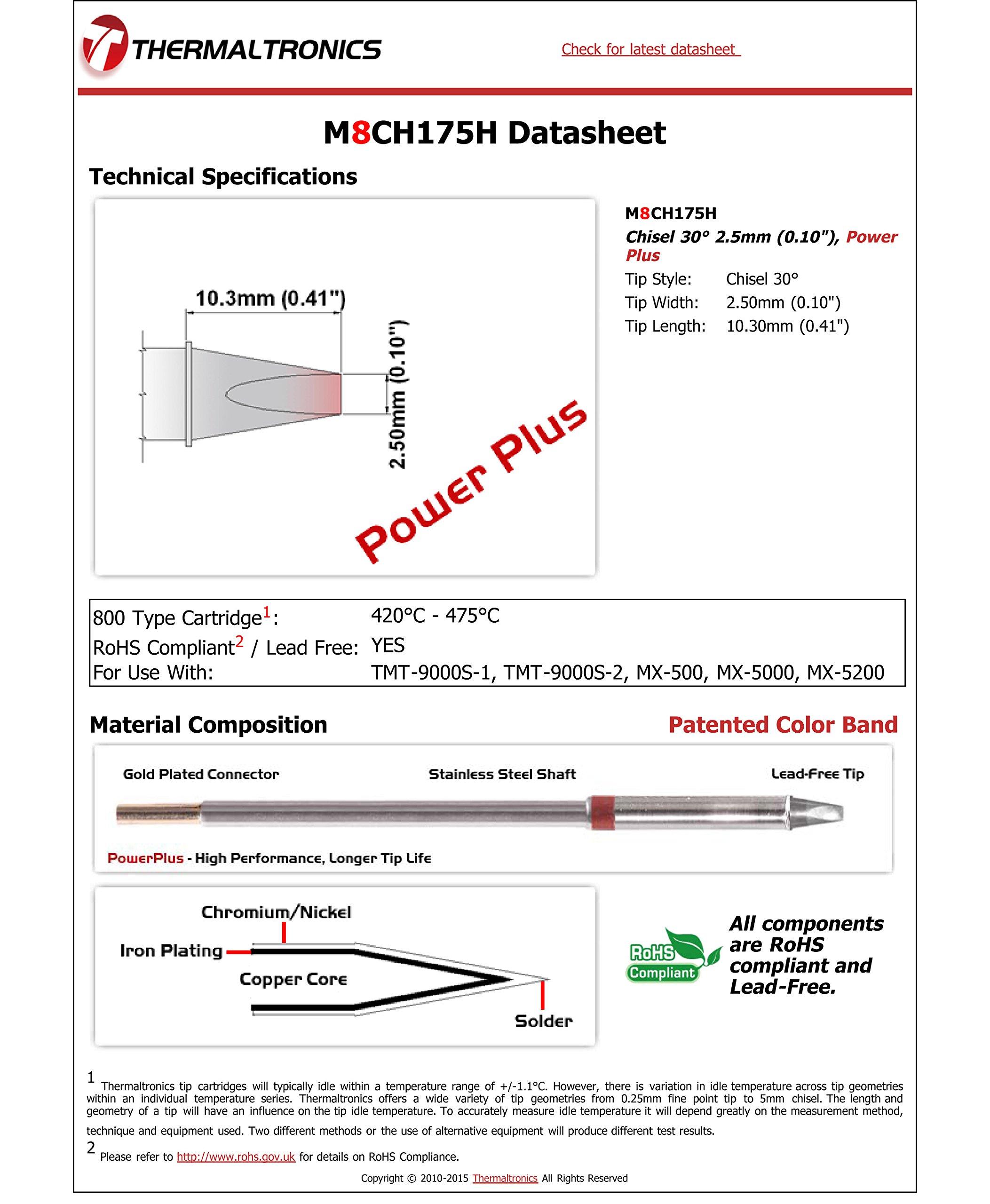 Thermaltronics M8CH175H Chisel 30deg 2.5mm (0.10''), Power Plus