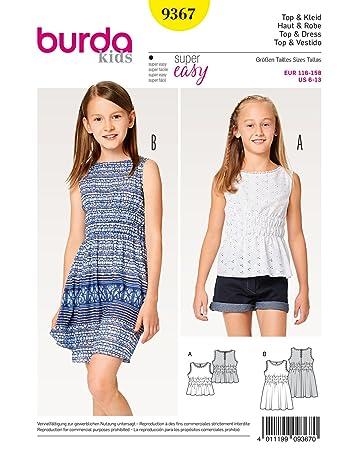 Burda 9367 Schnittmuster Top und Kleid mit Gummismok (Kids, 116-158 ...