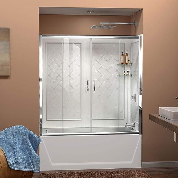 Visiones guarnecido de la puerta corredera de ducha acabado: níquel cepillado: Amazon.es: Hogar
