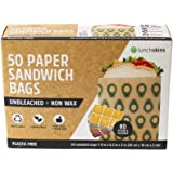 Lunchskins Unbleached + Non-Wax Durable Food Storage Paper Bags, Recyclable, Compostable, Made from Responsibly Sourced All-Natural Kraft Paper, Sandwich Size, 50 Count