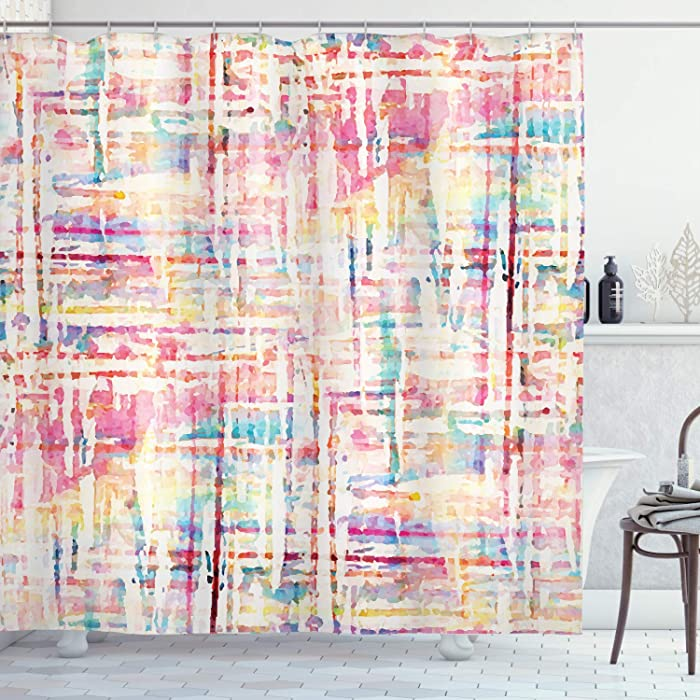 Ambesonne Grunge Shower Curtain, Abstract Grunge Paint with Manifold Complicated Mixed and Lines Print, Cloth Fabric Bathroom Decor Set with Hooks, 84