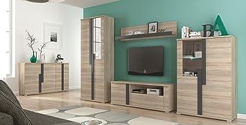 Wohnwand Mit Sideboard Wohnzimmer Komplett MARKUS Sonoma Eiche Beleuchtung