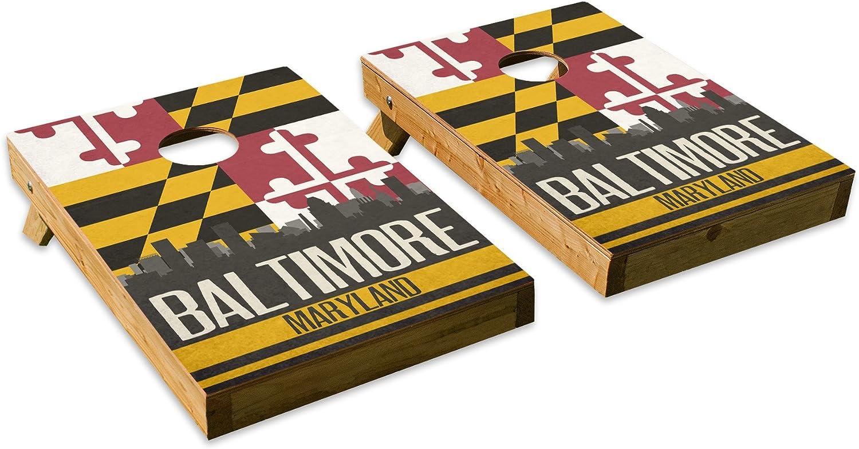 Baltimore State Flag Skylineデザイン – テールゲートCornholeボードセットwith 8バッグ