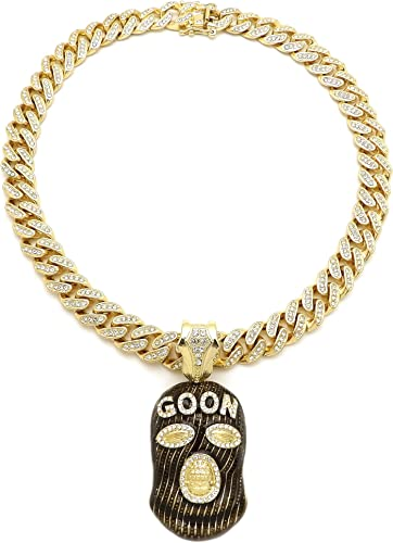 NYFASHION101 Stone Stud Full Face Ski Mask Goon Pendant with 12mm Iced Out Miami Cuban Chain Necklace